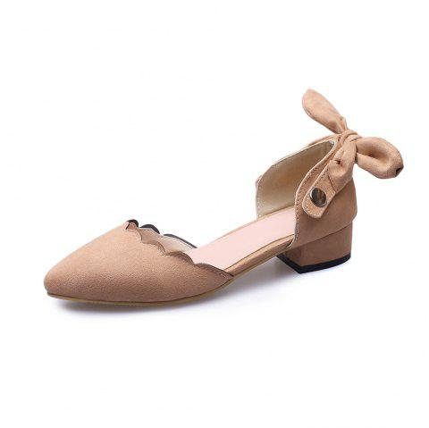 Pointed Toe Dull Polish Pure Color bowknot sweet Low Heel Lady Sandals - ORANGE PINK EU 45