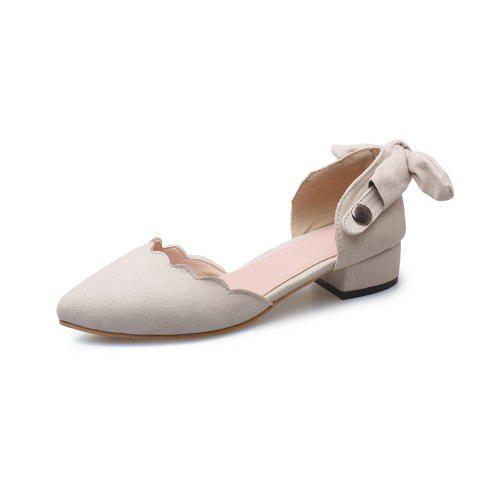 Pointed Toe Dull Polish Pure Color bowknot sweet Low Heel Lady Sandals - BEIGE EU 37