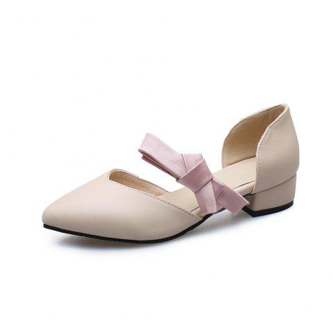 Pointed Toe Blue Patchwork Bowknot Sweet Low Heel Lady Sandals - BEIGE EU 40