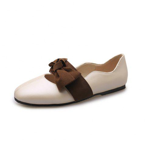 Square Toes Blue Patchwork Bowknot Hiranaga Casual lady Pumps - BEIGE EU 38
