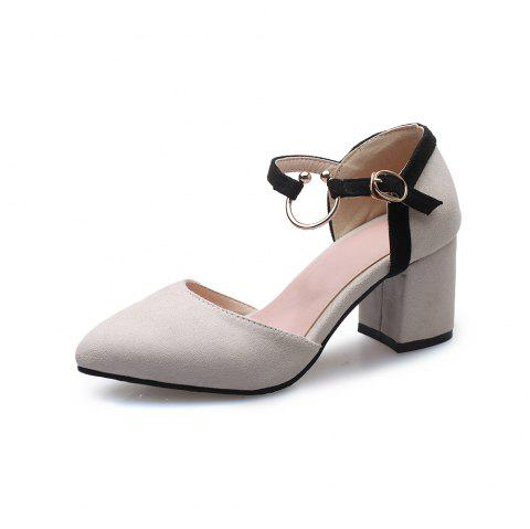 Pointed Toe Dull Polish Blue Patchwork Buckle Strap Chunky Lady Sandals - BEIGE EU 44