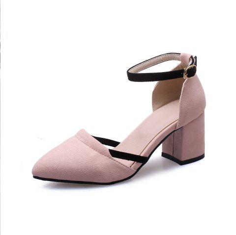 Fashion Pointed Toe Dull Polish Blue Patchwork Buckle Strap Chunky Lady Sandals - PINK EU 41