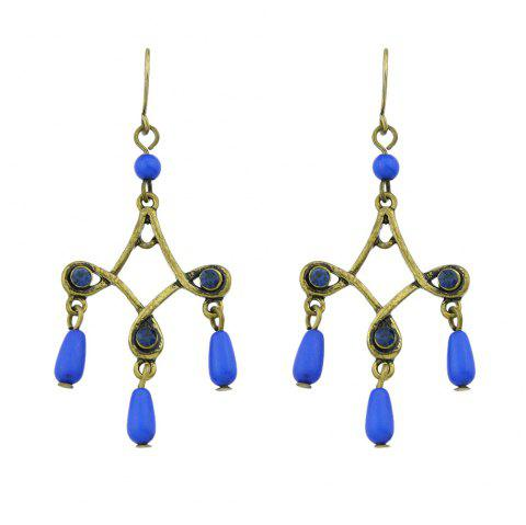 Antique Gold-Color with Colorful Beads Geometric Dangle Earrings - BLUE