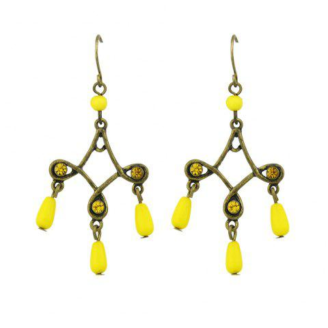 Antique Gold-Color with Colorful Beads Geometric Dangle Earrings - YELLOW