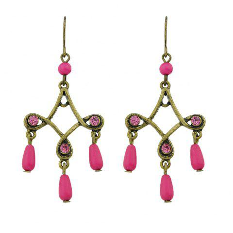 Antique Gold-Color with Colorful Beads Geometric Dangle Earrings - ROSE RED