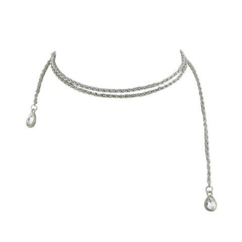 Gold Silver Color Chain with Crystal Chain Necklace - SILVER