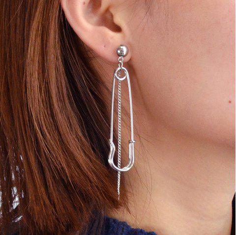 Gold Silver Color with Pin Dangle Earrings - SILVER