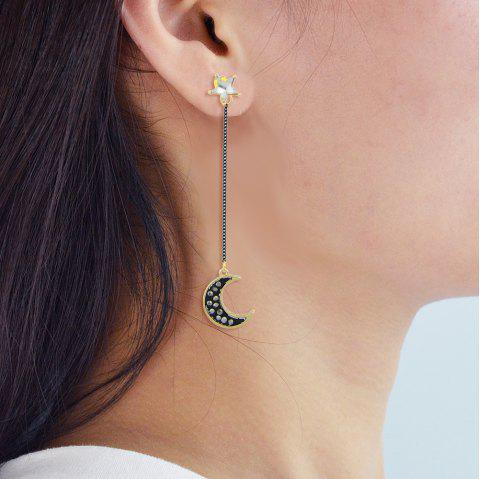 Gold-Color with Moon Planet Star Asymmetric Earrings - GOLD