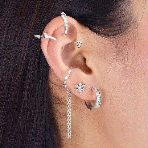 Silver Color With Geometric Ear Clip Stud Earrings 6PCS/Set - SILVER