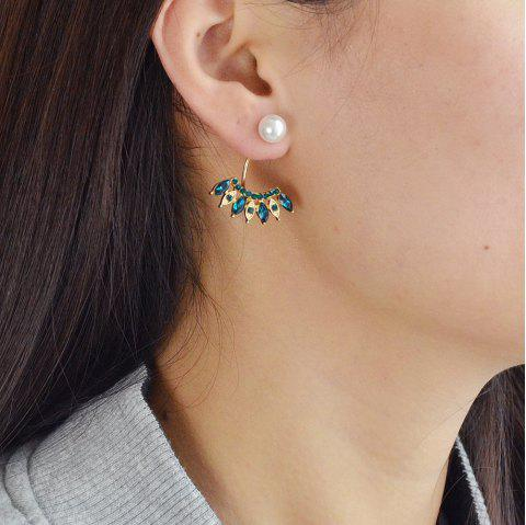 Colorful Crystal with Simulated-pearl Geometric Dangle Earring - SHAMROCK GREEN