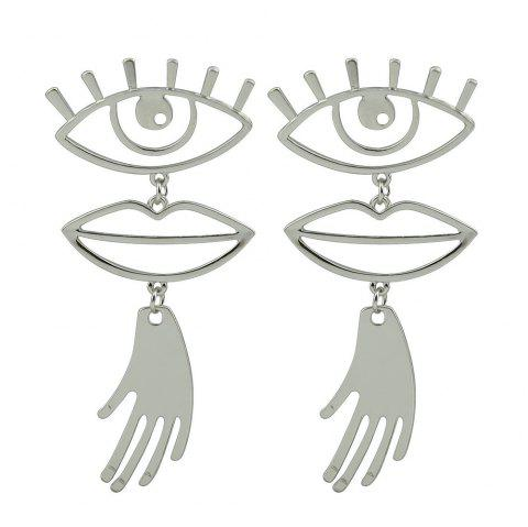 Gold Silver Color with Eye Lips Hand Dangle Earring - SILVER