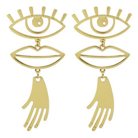 Gold Silver Color with Eye Lips Hand Dangle Earring - GOLD