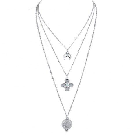 Silver Color Chain with Moon Flower Pendant Necklace - SILVER