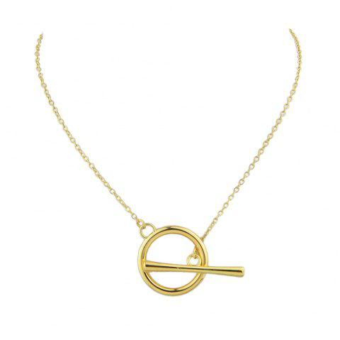 Gold Silver Color Chain with Geometric Chain Necklace - GOLD
