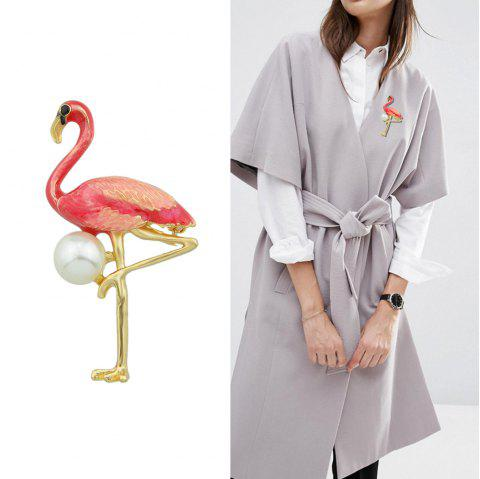 Colorful Enamel with Simulated-pearl Flamingo brooch - RED