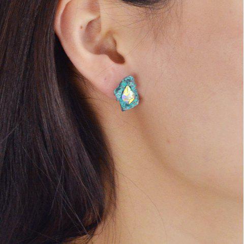 Green Silver Color with Colorful Rhinestone Stud Earrings - BLUE HOSTA