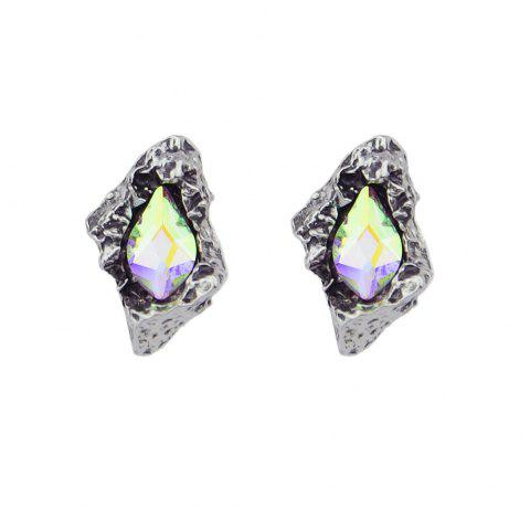 Green Silver Color with Colorful Rhinestone Stud Earrings - SILVER