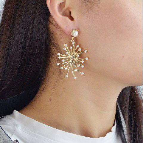 Gold-Color with Simulated-pearl Black Rhinestone Dangle Earring - WHITE