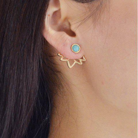 Gold Silver with Blue Stone Flower Stud Earrings - GOLD