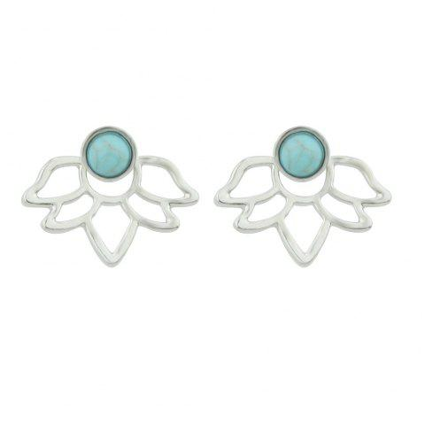 Gold Silver with Blue Stone Flower Stud Earrings - SILVER