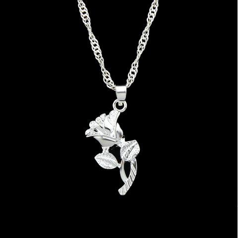 Gold Silver Color Chain with Rose Flower Pendant Necklace - SILVER
