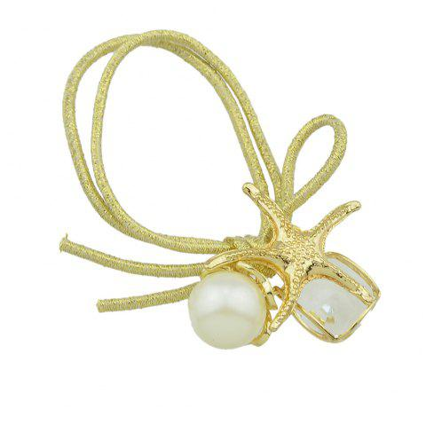 Colorful Elastic Rope with Starfish Simulated-pearl Headbands - GOLD