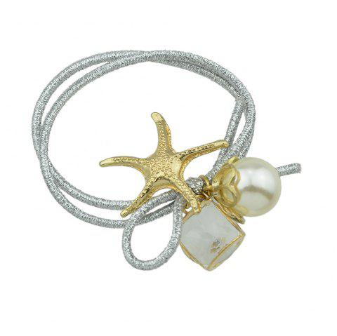 Colorful Elastic Rope with Starfish Simulated-pearl Headbands - SILVER