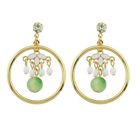 Gold-Color with Green Beads Flower Dangle Earring - GOLD