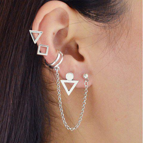 Silver Color With Geometric Stud Earrings Ear Clip 4PCS/Set - SILVER