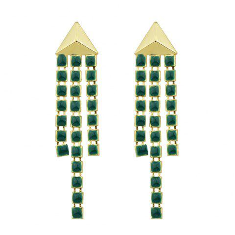 Gold-Color with Green Enamel Chain Dangle Earring - GOLD