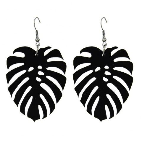 Black Color with Leaf Shape Acrylic Dangle Earring - BLACK