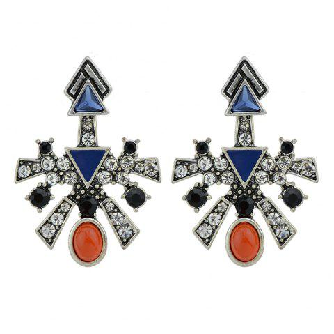 Antique Silver Color with Rhinestone Red Blue Stone Stud Earrings - SILVER