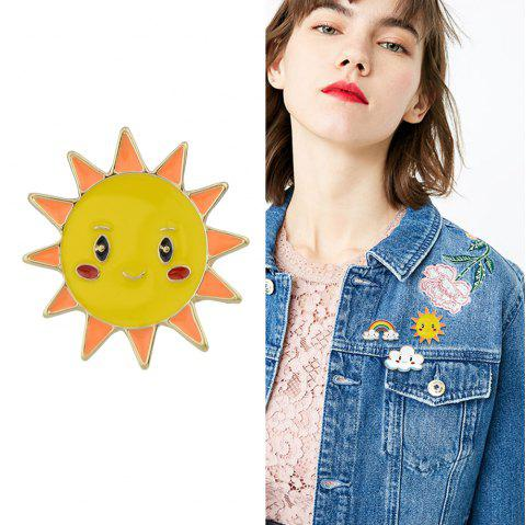 Gold-Color with Colorful Enamel Sun Cloud Brooch - RUBBER DUCKY YELLOW