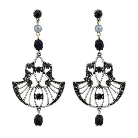 Silver Color with Beads Rhinestone Dangle Earrings - BLACK