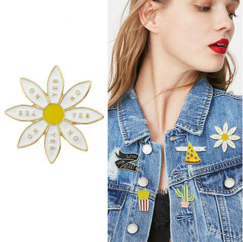 Gold-Color with White Yellow Enamel Sunflower Brooch - WHITE