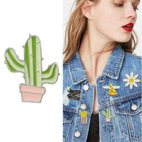 Colorful Enamel with Rainbow Ribbon Cactus Pizza Brooch - MINT GREEN