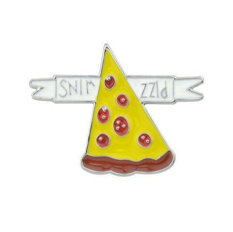 Colorful Enamel with Rainbow Ribbon Cactus Pizza Brooch - YELLOW