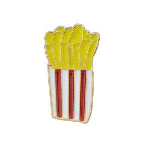 Gold with Colorful Enamel French Fries Brooch - YELLOW