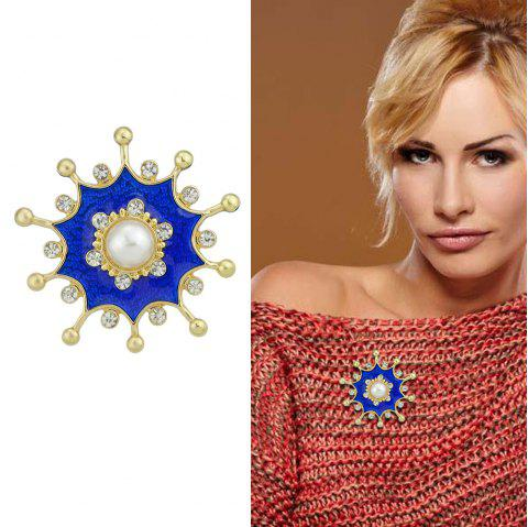 Gold-Color Metal Brooches with Simulated-pearl Rhinestone Blue Flower - BLUE