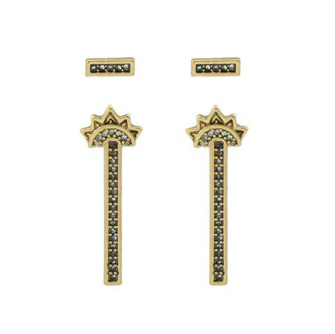 Antique Gold-Color with Rhinestone Stud Earrings - GOLD