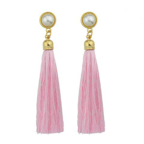 Gold-Color with Simulated-pearl Colorful Tassel Dangle Earring - PINK