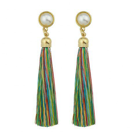 Gold-Color with Simulated-pearl Colorful Tassel Dangle Earring - DIGITAL DESERT CAMOUFLAGE