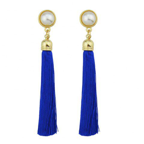 Gold-Color with Simulated-pearl Colorful Tassel Dangle Earring - BLUE