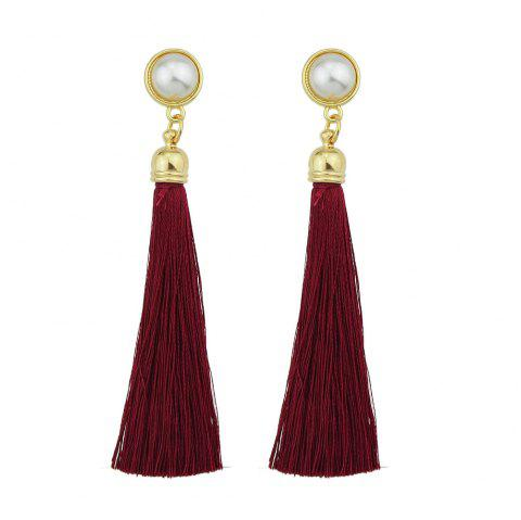 Gold-Color with Simulated-pearl Colorful Tassel Dangle Earring - RED WINE