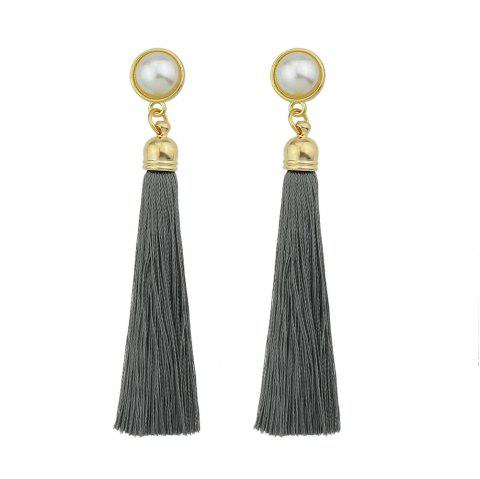 Gold-Color with Simulated-pearl Colorful Tassel Dangle Earring - CLOUDY GRAY