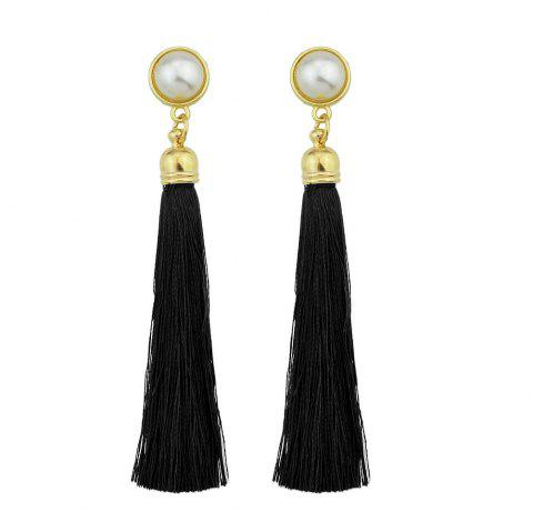 Gold-Color with Simulated-pearl Colorful Tassel Dangle Earring - BLACK