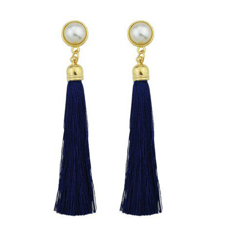 Gold-Color with Simulated-pearl Colorful Tassel Dangle Earring - CADETBLUE