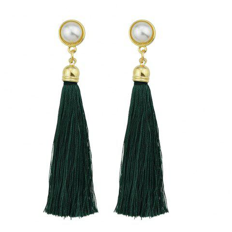 Gold-Color with Simulated-pearl Colorful Tassel Dangle Earring - DEEP GREEN