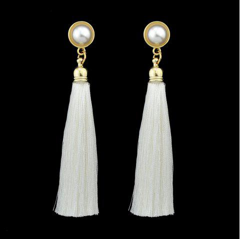 Gold-Color with Simulated-pearl Colorful Tassel Dangle Earring - WHITE