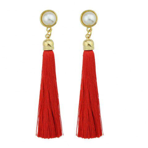 Gold-Color with Simulated-pearl Colorful Tassel Dangle Earring - RED